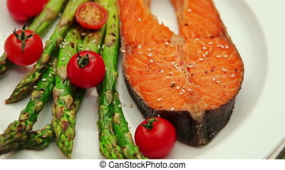 Crispy roasted salmon steak