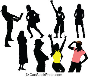 Eight woman silhouettes. Vector il