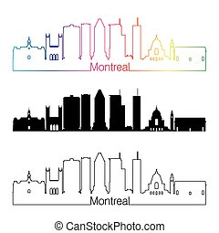 Montreal V2 skyline linear style with rainbow - Montreal...