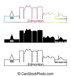 Edmonton V2 skyline linear style with rainbow in editable...