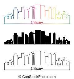 Calgary V2 skyline linear style with rainbow