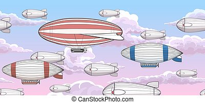 Vintage zeppelin horizontal seamless pattern. Vector airship...