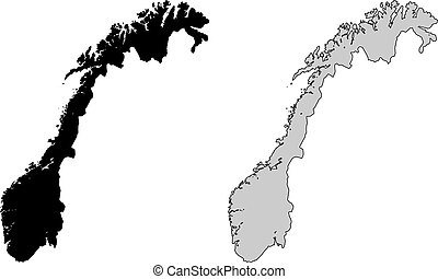 Norway map Black and white Mercator projection