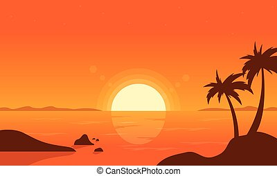 At sunset palm on beach vector