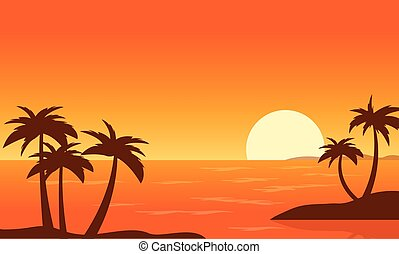 Beach with Palm at sunset landscape