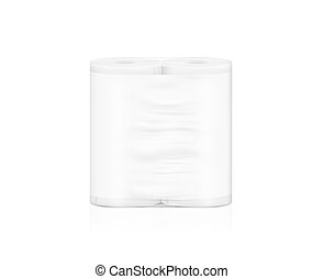 Blank white napkin roll packaging mockup, isolated, clipping...