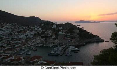 Top view twilight of Hydra island, Greece - city center and...