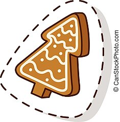 Christmas cake isolated vector icon - Sweet Christmas cake...