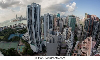 Timelapse of Hong Kong city life - Timelapse wide angle shot...