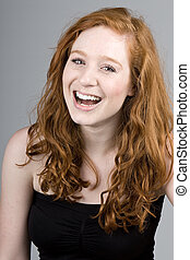 Beautiful Red Headed Girl Smiling - Shot of a Beautiful Red...
