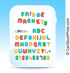 Colorful magnetic letters on refrigerator - Colorful...
