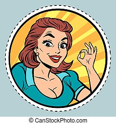 Comic young beautiful woman OK gesture, pop art retro comic...
