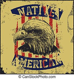 native American poster with eagle vector illustration