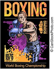 Boxing champ poster with boxer on black background vector...