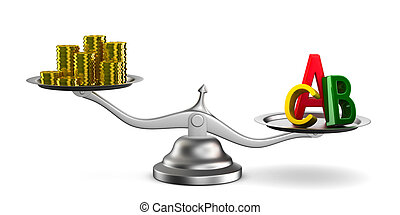 Money and letters on scales. Isolated 3D image