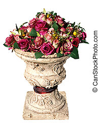 Large Arrangement of Artificial Roses isolated with clipping...