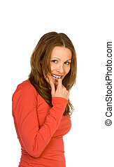 Shy - Middle aged woman in red top with finger in her mouth