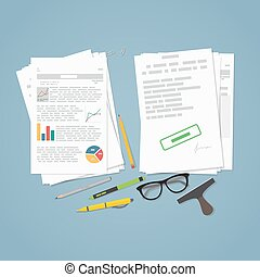 Business file report - Heap of financial documents. Flat...