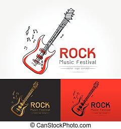 rock guitar logo vector