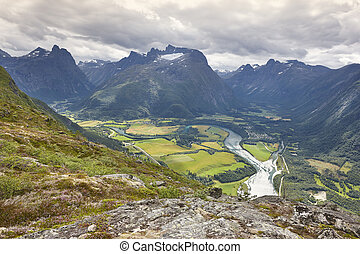 Norway landscape. Romsdal fjord, Rauma river and Romsdal...