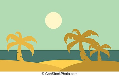 silhouette of plam landscape vector illustration collection