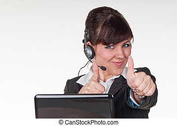 Friendly operator doing an OK sign with her hands