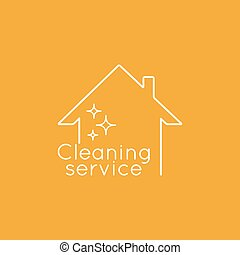 Icon cleaning services. - Vector logo with clean house. Icon...