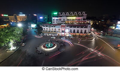 Timelapse of night traffic on Hanoi central square, Vietnam...