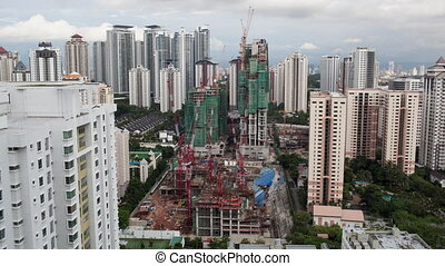 Timelapse of construction works in Kuala Lumpur, Malaysia -...