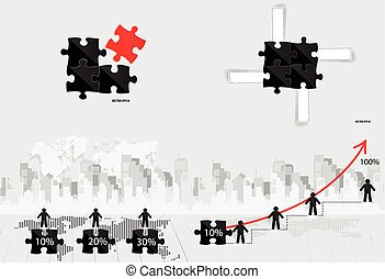 Business concept with businessman, graph, puzzle and modern building background. Vector illustration.