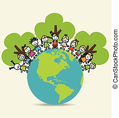 Cute children on Green Eco Earth. Vector Illustration.