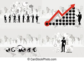 Business concept with businessman, cloud of application and modern building background. Vector illustration.