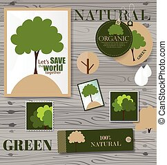 Set of nature themed labels and tags. Vector illustration.