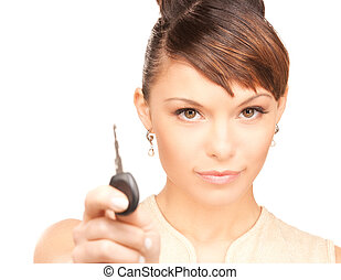 happy woman with car key - picture of happy woman with car...