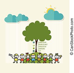 ECO FRIENDLY. Ecology concept with Cute children and tree. Vector Illustration.