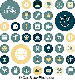 Flat design icons for travel, sport and leisure. Vector...