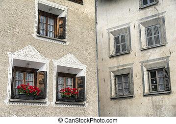 Bregaglia (Graubunden, Switzerland): old village -...