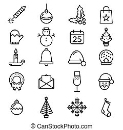 Set flat outlined Christmas icons - Set of flat outlined...