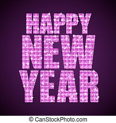 Pink Sequins text Happy New Year. Stars. - Happy New Year...