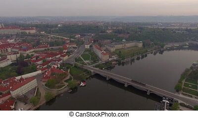 Prague aerial view with Manes Bridge - Aerial view of...