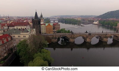 Aerial view of Charles Bridge in Prague, Czech Republic -...
