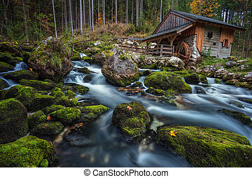 Old Water Mill. - Image of the old wooden water mill in the...