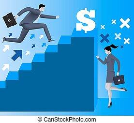 Gender inequality on career ladder business concept,...
