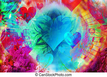 abstract collage with heart spreading out music notes, symbolizing the love to music, abstract ornamental collage.