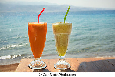 fresh cocktails at the cafe on the seashore