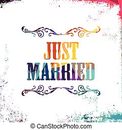 just married bstract colorful triangle geometrical greetings...