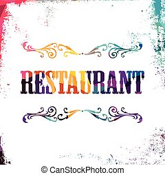 restaurant sign bstract colorful triangle geometrical vector...