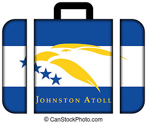 Flag of Johnston Atoll, USA. Suitcase icon, travel and...