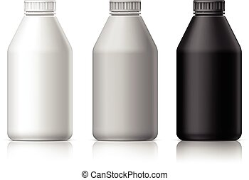 Big plastic bottle for cosmetics. In black, gray and white....