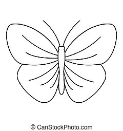 Butterfly with strip icon, outline style - Butterfly with...